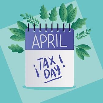 Belastingdagkalender en bladeren