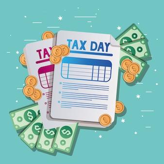 Belastingdocumenten rekeningen en munten