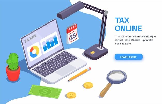 Belastingen boekhoudkundige isometrische banner met klikbare leer meer knop