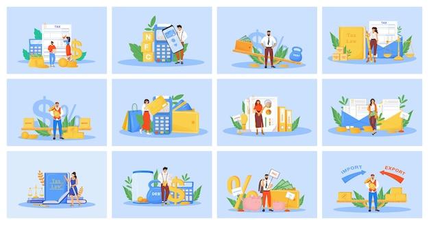 Belastingen en betalingen platte concept set.