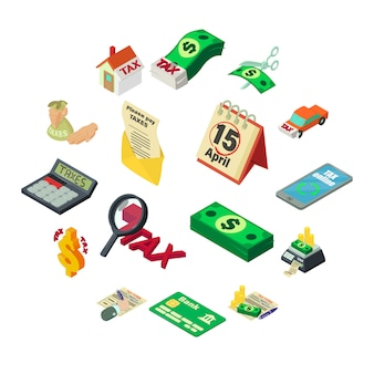 Belastingen geld pictogrammen instellen, isometrische stijl