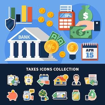 Belastingen iconen collectie