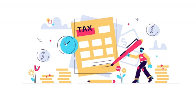 Belastingen illustratie. kleine personen concept met betaling vertraging. financiële dienst om te betalen voor overheidsbehoeften. deadline informatierekening en boete. nationale jaarlijkse rekencontrole.
