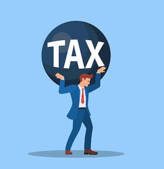 Belastingen voor zakenmensen dragen op schouder en zorgen