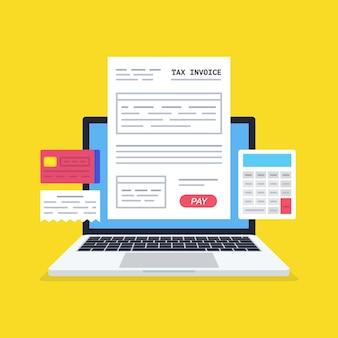 Belastingformulier op het laptopscherm. online digitale factuur met computercalculator en creditcard.