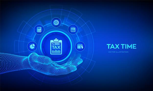 Belastingpictogram in robotachtige hand. concept belastingbetaling. gegevensanalyse, financieel onderzoeksrapport en berekening van belastingaangifte.