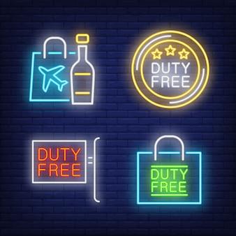 Belastingvrije set met neonborden. fles alcohol