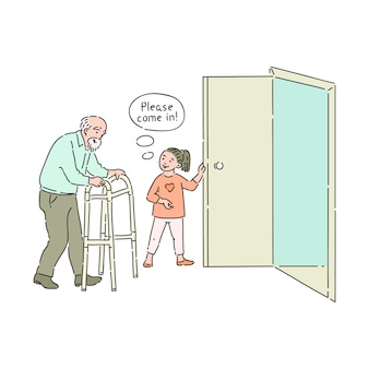 Beleefd kind opent deur voor oudere man