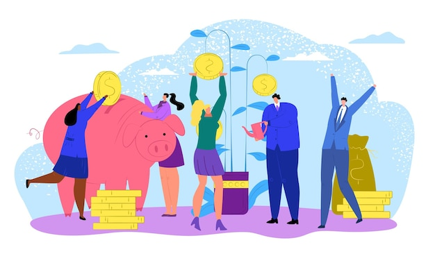 Beleggers klein personage bespaart samen geld in spaarvarken met gouden munten contant geldstapel met vrolijke mensen ...