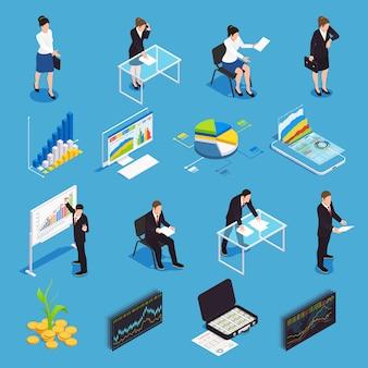 Beleggingsfondsen isometrische pictogrammen instellen met financiële markt groei diagram econoom manager strategie beurs