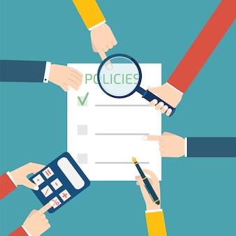 Beleid concept met handen