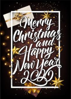 Belettering achtergrond met prettige kerstdagen en 2020 nieuwjaar elementen