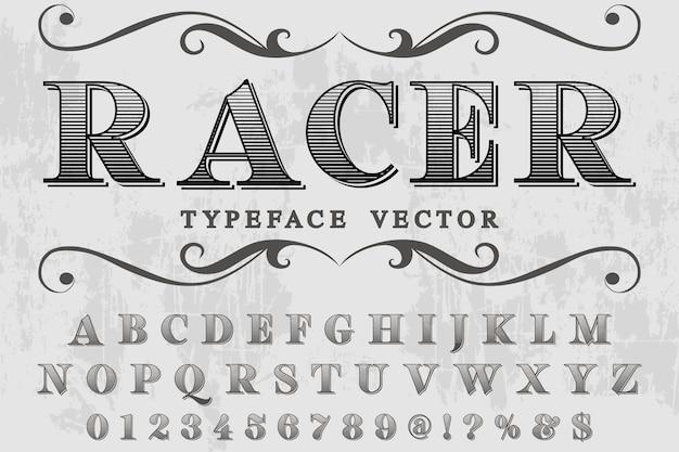 Belettering alfabetische grafische stijl racer