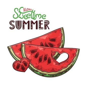 Belettering aloha zoete tijd zomer met watermeloen