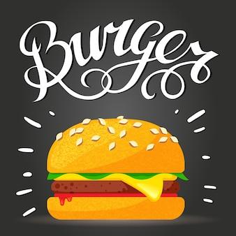 Belettering burger - hamburger of cheeseburger. fast food poster