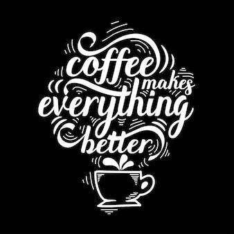 Belettering citaat van koffie met schets, café schoolbord ontwerpsjabloon
