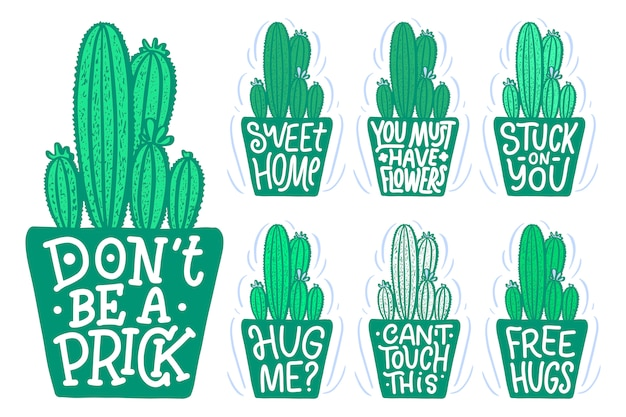 Belettering citaten over cactussen, binnen gemaakte illustratie. handrawn samenstelling.