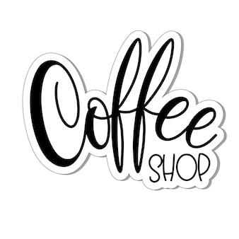 Belettering coffeeshop. kalligrafische hand getekende teken. koffie offerte. tekst voor prints en posters, menu-ontwerp, wenskaarten. vector illustratie.