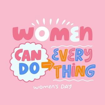 Belettering concept voor dag van de vrouw