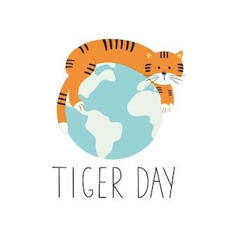 Belettering dag tijger handgeschreven inscriptie voor de dag van de tijger en het gezicht van de tijgers