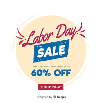 Belettering dag van de arbeid verkoop banner