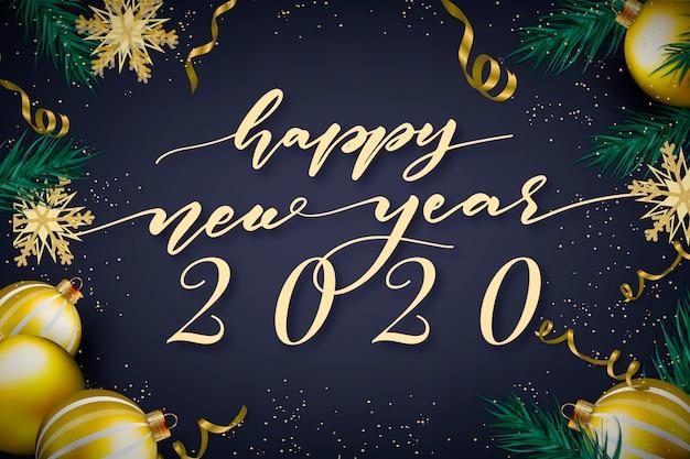 Belettering gelukkig nieuw jaar 2020 met realistische decoratieachtergrond