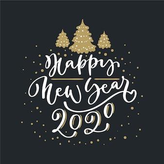 Belettering gelukkig nieuw jaar 2020 op zwarte achtergrond