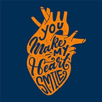 Belettering glimlach hart citaat hand getrokken typografie