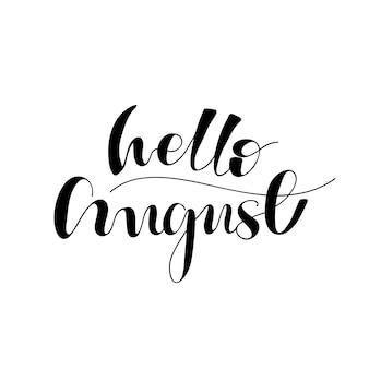 Belettering hallo augustus. vector illustratie.