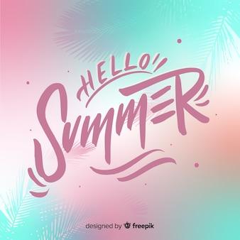 Belettering hallo zomer achtergrond