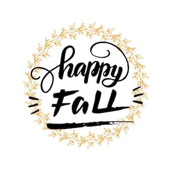 Belettering happy fall. vector illustratie.