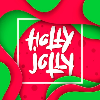 Belettering illustratie zin holly jolly