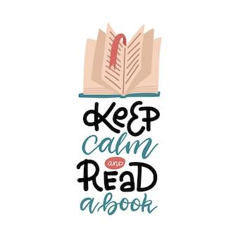 Belettering inschrijving - blijf kalm en lees een boek. open boek met oude pagina.