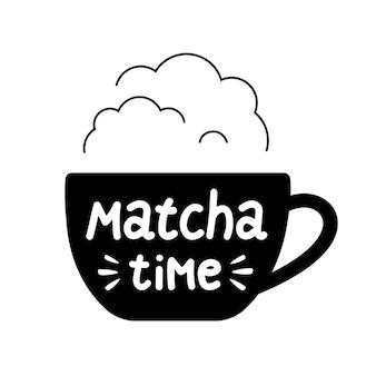 Belettering matcha-tijd op een kopje met stoom voor logo café