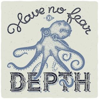 Belettering met octopus illustratie