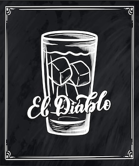 Belettering naam van cocktailrecept.