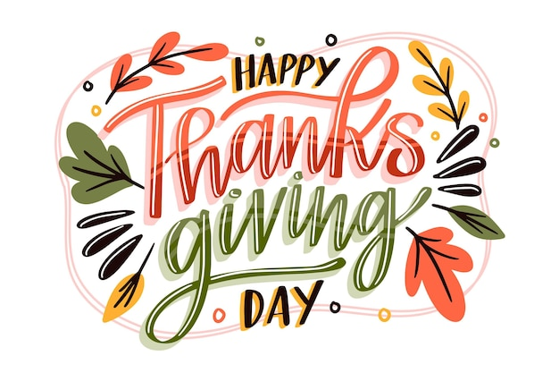 Belettering ontwerp happy thanksgiving