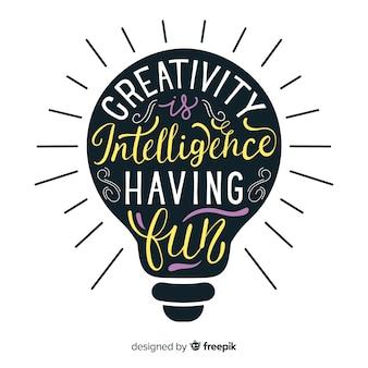 Belettering ontwerp met creativiteit citaat