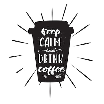 Belettering ontwerp met een koffie zin. vector illustratie.