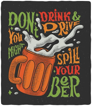 Belettering poster met bierpul