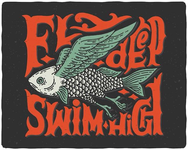 Belettering poster met vis illustratie