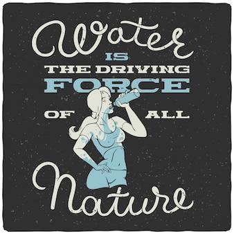 Belettering poster met vrouw drinkwater