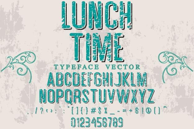 Belettering schaduweffect lettertype ontwerp lunchtijd
