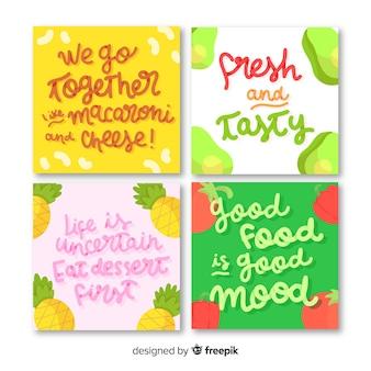 Belettering set met voedselkaarten