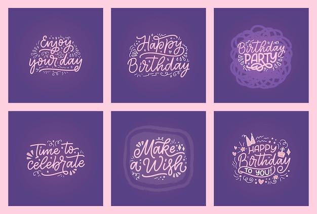 Belettering slogans voor gelukkige verjaardag