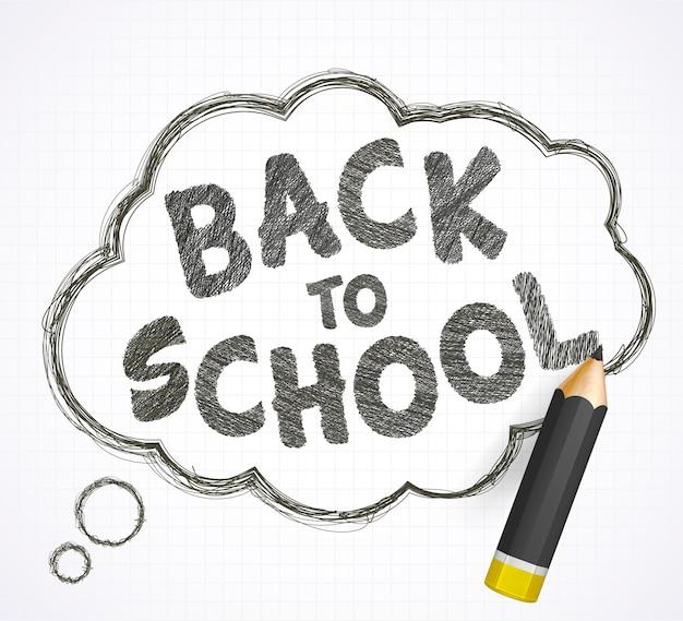 Belettering terug naar school, tekstballon en realistisch zwart potlood