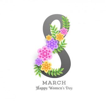 Belettering van 8 maart gedecoreerd