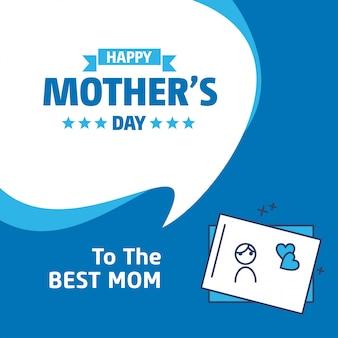 Belettering van happy mothers day blauwe achtergrond