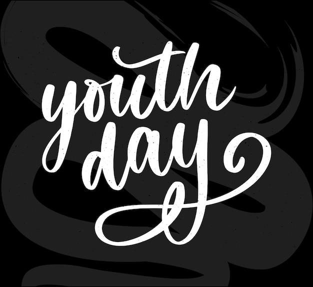 Belettering van internationale jeugddag geel