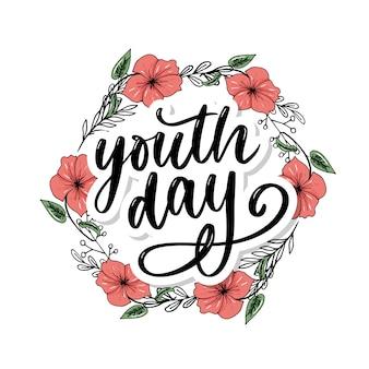 Belettering van internationale jeugddag gele achtergrond slogan